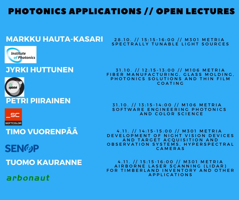 Open lecture serie: Photonics applications 28.10.-17.12.2019